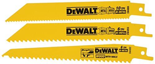 DEWALT Reciprocating Saw Blades, Woodcutting Set, 3-Piece (DW4853)