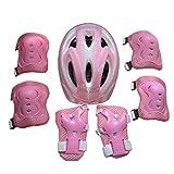 Galaga Equipo de Protección para Patines,Bicicleta, Monopatín,Protectores 7 PCS,Casco,Almohadillas de Codo, Rodilleras para niños (Rosa)