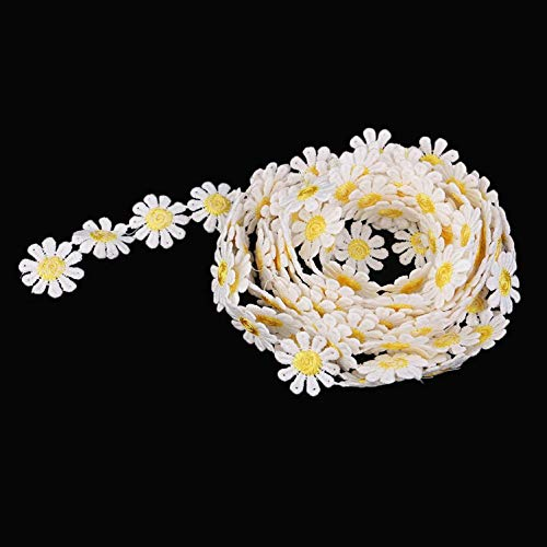 KANGIRU Adornos de Costura duraderos y útiles, Adorno de Encaje de Margaritas Blancas y Amarillas Ribetes de Cinta Adornos de Flores Apliques de Costura Costura, 3 Yardas, 25 mm / 0.98 Pulgadas,