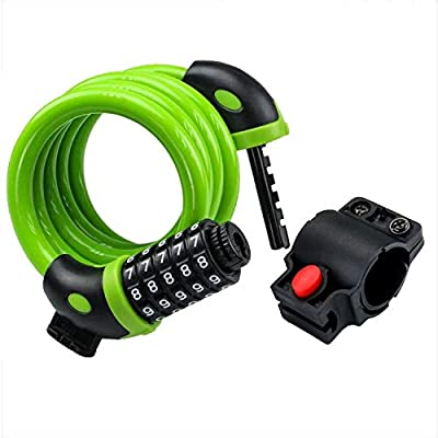 traderplus 4-Feet Bike Lock Cable 5-Digit Combination Bicycle Chain Lock with Mounting Bracket (Green)