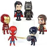 Gxhong Decoración de Pastel de Superhéroes,6pcs Mini Juego de Figuras Decoración para Tartas Avengers Cake Topper Mini Modelo de Spiderman Decoración Captain America, Iron Man, Batman, Thor, Superman