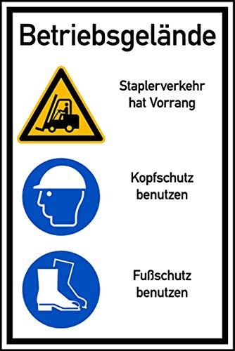 """Hinweisschild 600x400 mm /""""Betriebsgelände s Schrittgeschwindigkeit/"""",Hochformat"""