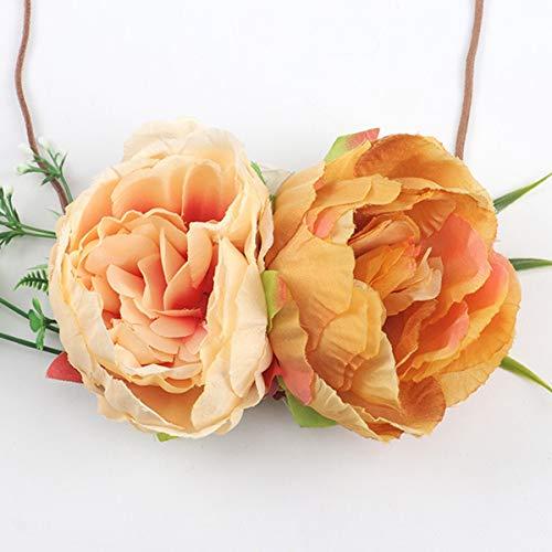 HaiQianXin kinder baby Toddler Kids Lace-Up Tie hoofdband haaraccessoires voor kinderen bloemen (kleur: oranje/champagne)