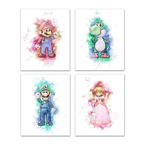 Super Mario Bros Wall Art Game Room Decor - Watercolor Gamer Decor For Boys Girls Bedroom, Bathroom Decor Wall Art, Gaming Poster Prints - Nintendo Wall Posters For Boys Room - Mario Luigi Peach Yoshi Video Game Posters - Set of 4 (8 x 10) Unframed