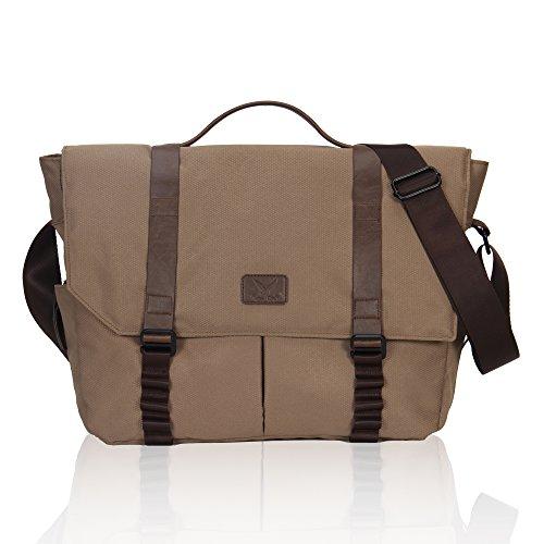 Travel Max 14 inch Laptop Bag, Messenger Bag for Men Women, Multi-Functional Business Briefcases Shoulder Sling Bag Students Bookbag College School Computer Handbags(Khaki)