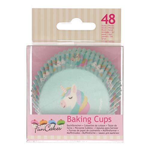 FunCakes FC4025 hochwertige Muffinförmchen/Backförmchen-Einhorn-mit fettdichter Beschichtung-perfekt für Cupcakes, Muffins oder Brownies-48 Stück, Papier