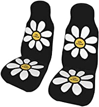 KiuLoam Life is Good Flower Car Seat Covers, Front Vehicle Seat Protector Car Mat Covers, Universal Fit for Vehicle Sedan SUV and Truck Automotive Interior, 2 Pcs
