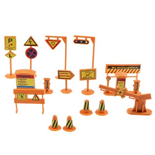 Hellery 14x Señal de Tráfico de Construcción de Carreteras Conjunto de Señales de Barricadas de Ingeniería de Poste Indicador