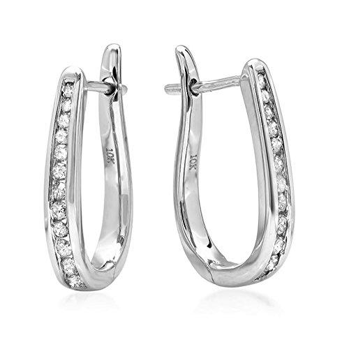 AGS Certified 1/4ct Diamond Hoop Earrings in 10K White Gold