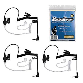 MaximalPower RHF 617-1N 3.5mm Receiver/Listen ONLY Surveillance Headset Earpiece with Clear Acoustic Coil Tube Earbud Audio Kit for Two-Way Radios Transceivers and Radio Speaker Mics Jacks  3 Pack