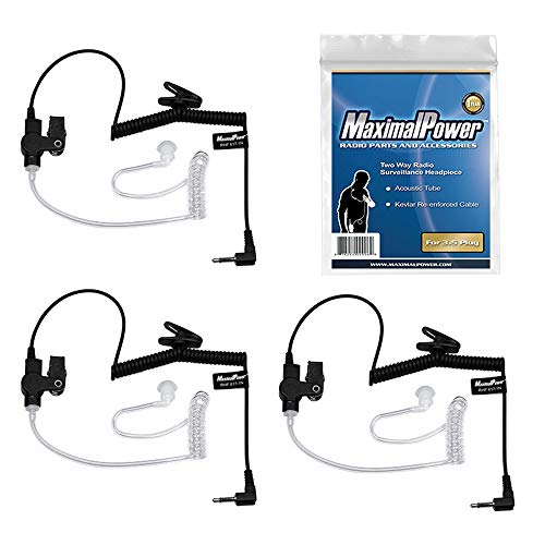 MaximalPower RHF 617-1N 3.5mm Receiver/Listen ONLY Surveillance Headset Earpiece with Clear Acoustic Coil Tube Earbud Audio Kit for Two-Way Radios, Transceivers and Radio Speaker Mics Jacks (3 Pack)
