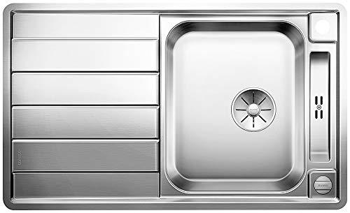 Blanco Axis III 45 S-IF, Küchenspüle für normalen und flächenbündigen Einbau, Einbauspüle, reversibel, mit InFino-Ablaufsystem und Ablauffernbedienung, Edelstahl Seidenglanz; 522102