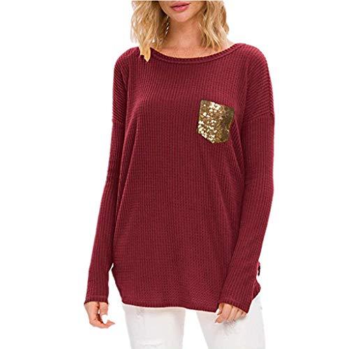 Berimaterry Damen Langarmshirt Rundhals T-Shirt Mode Pailletten Tasche Hemd Jumper Einfarbig Casual Langarm Pullover Frühling Herbst Tunika Shirt Bluse Tops
