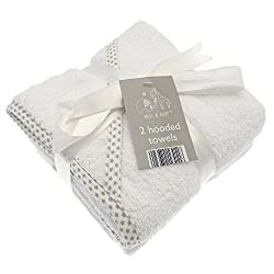 This pack of 2 Elli & Raff Hooded Towels is perfect for baby bath time The soft and durable 100% cotton fabric is embroidered with a star pattern and features an Elli & Raff motif and is ideal for keeping little ones warm and dry The hood is nice and...