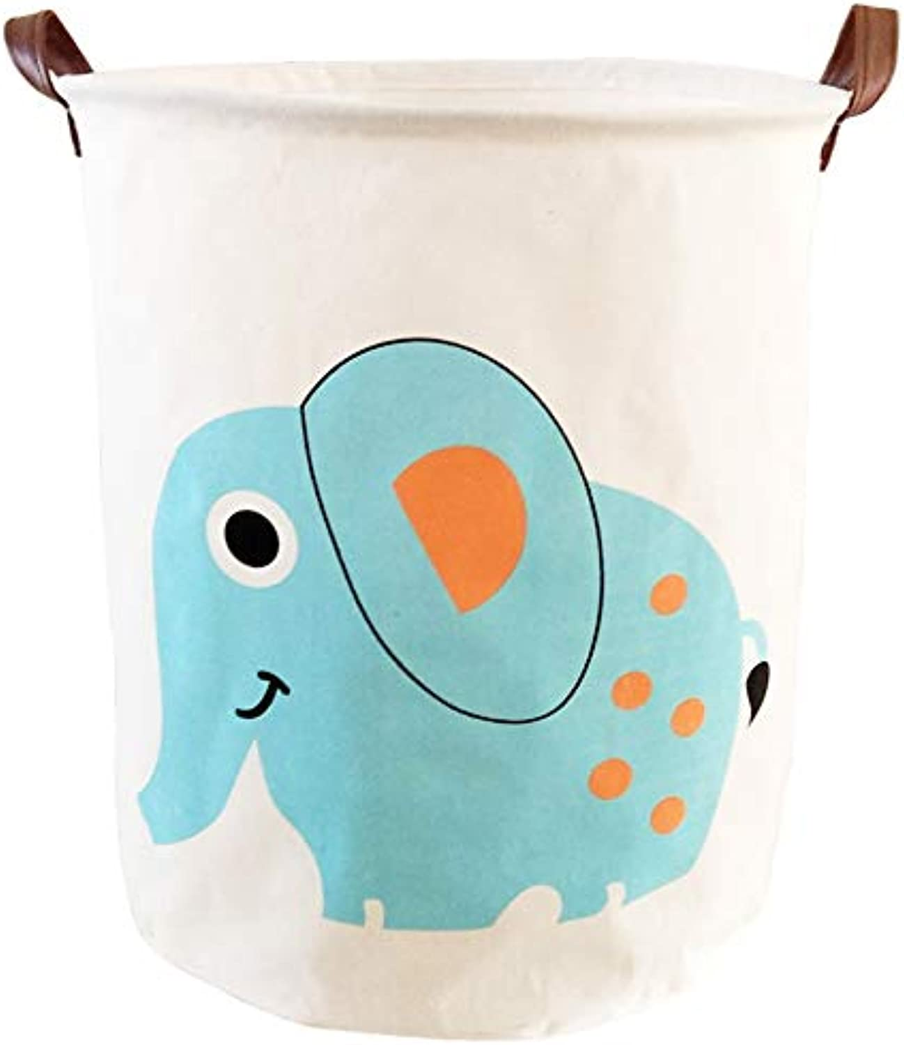 BOOHIT Storage Baskets,Canvas Fabric Laundry Hamper-Collapsible Storage Bin with Handles,Toy Organizer Bin for Kid's Room,Office,Nursery Hamper, Home Decor(Elephant)