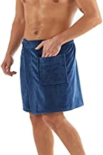 Organic Cotton Men Wrap Adjustable Towel Wraps Dual Sided Loop Terry Terry Velour (Navy)
