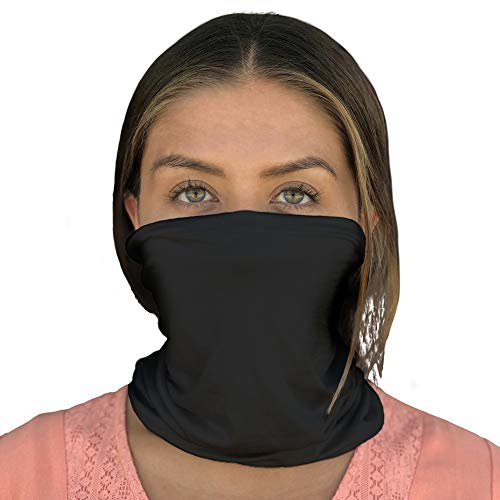 Happyluxe Face Shield, Neck Gaiter, Breathable Mask, UPF 50+, Made in the USA (Jet Black)