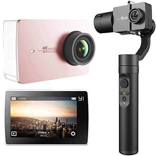 YI 4K Action and Sports Camera, 4K/30fps Video 12MP Raw Image with EIS, Live Stream, Voice Control Rose Gold/Pink Content Creator Bundle Action 3-Axis Gimbal Stabilizer