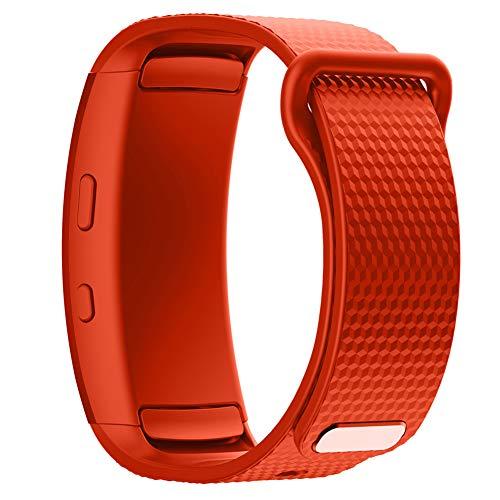 YONKINY Bracelet de Rechange Silicone Réglable Bracelet de SPOR De Rechange Souple Remplacement Watch Straps Accessoire Compatible pour Samsung Gear Fit2 Smartwatch (Orange)