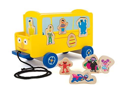 Small Foot 10975 Sesamstrasse Bus aus Holz, 100% FSC-Zertifiziert, Ziehspielzeug für Kinder ab 1 Jahr zum Ziehen und Stecken Spielzeug, Mehrfarbig