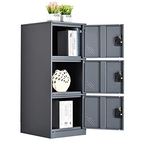 MECOLOR Armario pequeño vertical de un solo nivel con cierre de candado, 2 o 3 compartimentos de almacenamiento para empleados, hogar, oficina, escuela, niños (blanco completo, P2V) (gris, P3V)