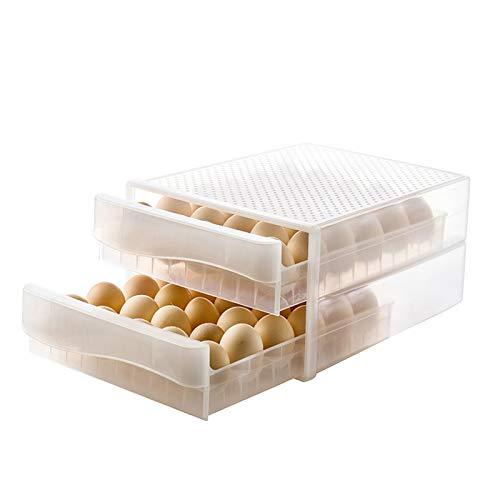 60 cajones de rejilla tipo soporte para huevos para nevera, caja de almacenamiento de huevos frescos de 2 capas contenedor de almacenamiento de huevos