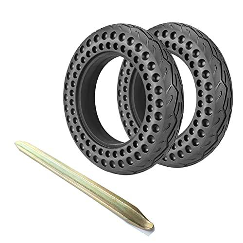 Paquete De 2 Neumáticos Sólidos para Scooter Eléctrico, Neumáticos De Nido De Abeja A Prueba De Pinchazos De 10 Pulgadas con Palanca De Neumáticos, Rueda De Repuesto,10 * 2.5 in