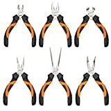 KENDO 6-Piece Mini Pliers Set - Long, Bent, Needle Nose, Diagonal, End Cut, Combination - Spring Loaded Handle, 4.5 Inch - Mechanic, Craftsman, Electrician Basic Tool Kit - Roll Up Carry Bag Included