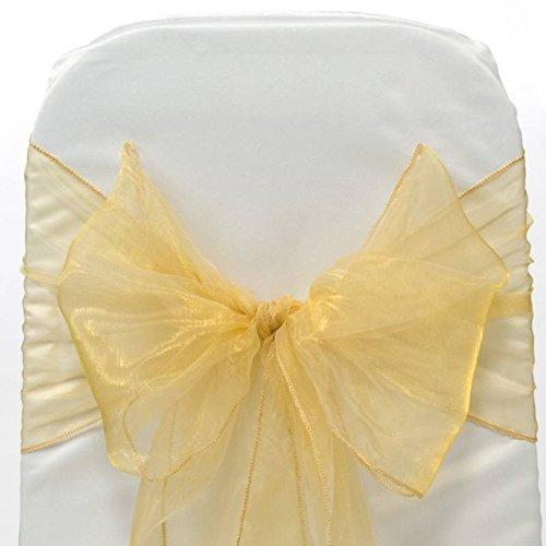 MDS 100 PCS Gold Organza Chair Sashes / Bows sash for Wedding or Events Banquet Decor Chair Bow sash