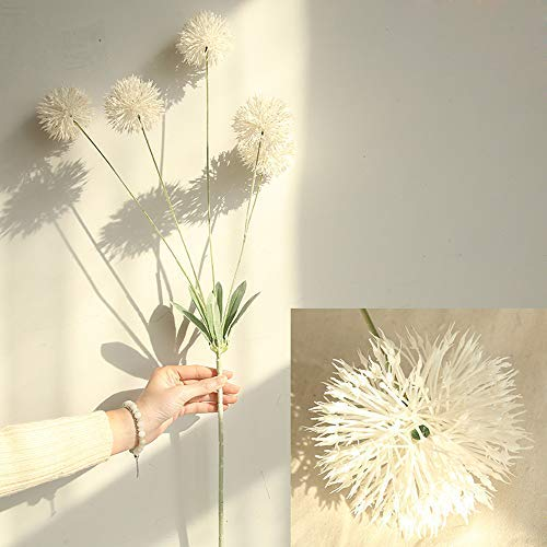 Artificial Flowers Dandelion 5 pcs Real Touch Realistic Single Fake Bright Small Flowers White Plants for Home Wedding Decoration