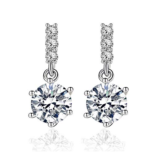 Pendientes Mujer Plata de Ley 925 y Circonita Cúbica con Cristal Diamantes de Imitación Cuelga, Pendientes Colgantes de Gota Moda de Joyería Regalos para Mujeres
