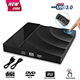 GVOO - Lettore DVD esterno USB 3.0 Dual Port Superspeed portatile CD DVD DVD masterizzatore CD DVD DVD DVD Slim esterno con sensore touch per laptop/notebook/MacBook/desktop