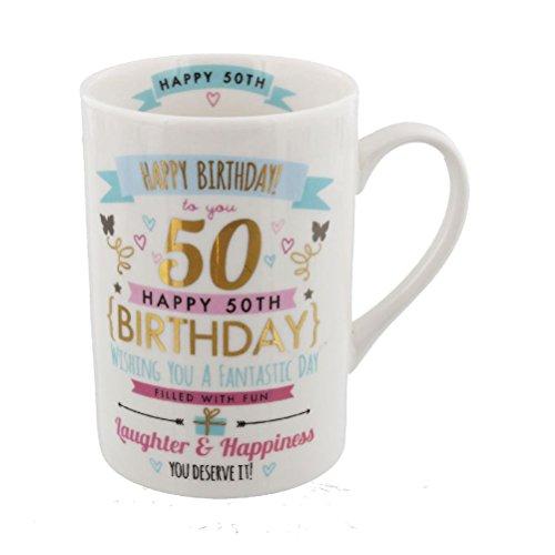 Roze & Gouden Signografie Bereik Verjaardag Mok - 50e Verjaardag