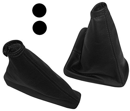 AERZETIX - Funda para Palanca de Cambios y Freno de Mano - 100% Piel Genuina - Color de Piel: Negro - Color de Costuras: Negro