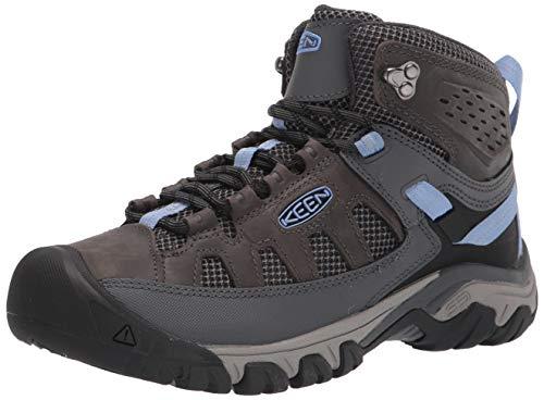 KEEN Women's Targhee Vent Mid Height Water Resistant Hiking Boot, Steel Grey/Hydrangea, 8.5