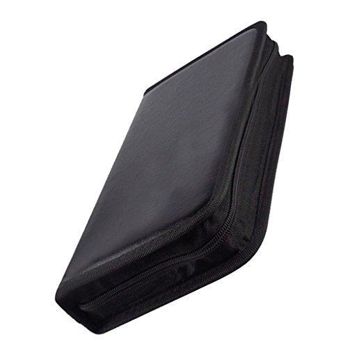 Gazechimp Bolsa de CD DVD Almacenamiento Cubierta de Cuero Guarda 80 Discos de color Negro Portàtil