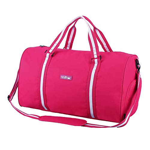 apollo walker Water Resistant Sports Gym Duffel Bag with Shoes Compartment Travel Weekender Bag 45L for Women, Hot Pink