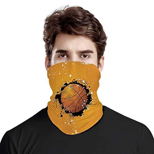 FULIYA Gran cara cubierta bufanda protección cuello, baloncesto y pintura salpicaduras en fondo abstracto Grungy tema deportivo, variedad bufanda de cabeza unisex