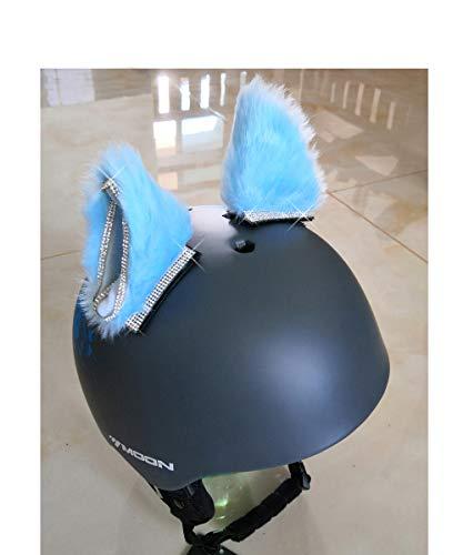 3T-SISTER Helm Kat Oren Crystal Helm Accessoires Decoratie voor Motorfiets, Snowboarden, Skiën, Fietsen, Fietsen, Schaatsen Kostuum Cosplay voor kinderen en volwassenen 2 Stks,Blauw