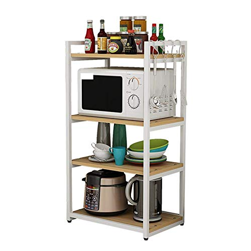 TANGIST Corner Table Stand Microwave Oven Stand 4-Shelf Shelving Storage Unit Oven Microwave Rack Metal Multifunction Open Shelves Rack Rice Cooker Kitchen Baker's Rack (Color : White, Size : 110X60X4