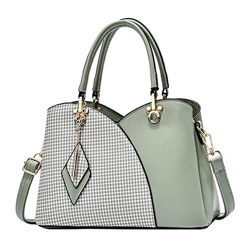 Tisdaini Damen handtaschen Mode Gittermuster Hohe Kapazität Temperament Farbanpassung Schultertaschen Shopper Umhängetaschen Grün