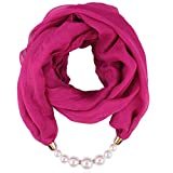 QIMANZI Schals Damen Frauen Boho Beach Deckenschal ElegantHalsketteLätzchen Pearl Halskette Anhänger Beiläufig Weich Wickeln Halskette Herbstschal(Pink)