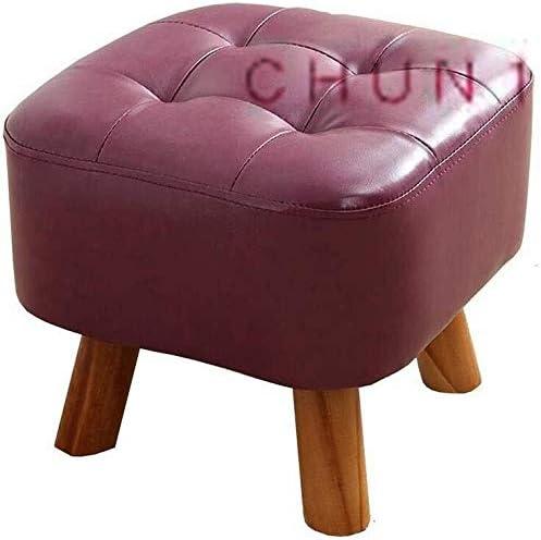 Faux cuir pied tabourets, support carré en bois rembourré Repose-pieds 35 X 35 X 34CM 129 1031 (Size : Fuchsia)