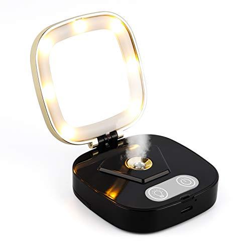 ZZBB Espejo De Maquillaje con Luz LED De 3 Modos Nano Hidratante Facial Hidratante Lámpara Cosmética Espejo Humidificador Facial Portátil Dispositivo Rociador Espejo Cosmético,