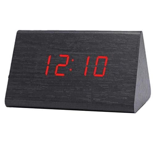 MJ-Alarm Clock Horloge électronique à LED à Double Affichage de la température d'alarme d'induction, réveil en Bois rétro de Digital