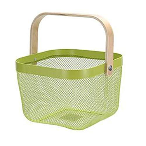 Greenf - Frutero de acero inoxidable portátil con mango de madera, cesta de almacenamiento decorativa de malla metálica, para frutas y verduras, cocina, cuarto de baño, color azul