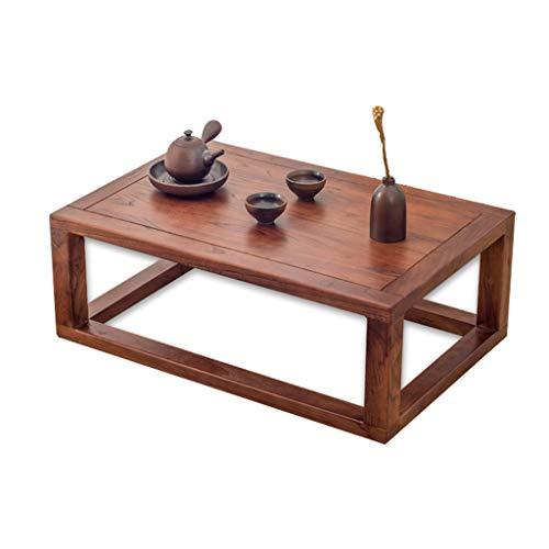 Tables Tatami Basses Baie Vitrée Petite À Thé Simple en Bois Massif Bureau Zen Balcon Petite Salon Basse Moderne Basses (Color : Brown, Size : 60 * 40 * 25cm)