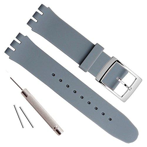 OliBoPo - Hebilla de acero inoxidable chapada en plata, resistente al agua, correa de reloj de goma de silicona