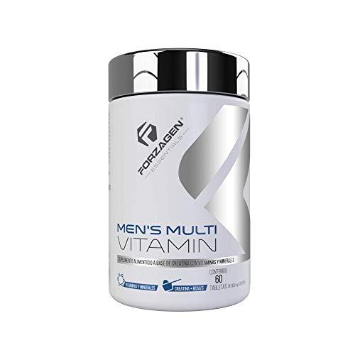 Forzagen Essentials Men's Multivitamin - 60 Tabletas | Vitaminas y Minerales para Hombre | Vitamina C | Ácido Fólico | Zinc | Magnesio | Calcio | Poderosos Antioxidantes | Con Complejo de Rendimiento | BCAA | Creatina | L-Arginina | Promueve Rendimiento y Recuperación Muscular | Refuerza Sistema Inmune | Protege la Salud | Incrementa Energía y Vitalidad | Esencial para Hombres | Suplemento Natural