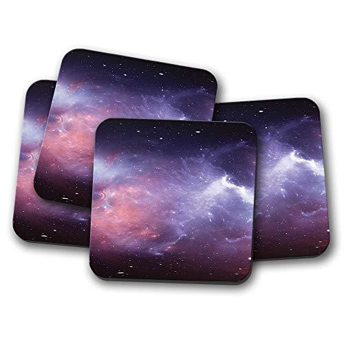 Juego de 4 posavasos de nebulosa morada con diseño de galaxia de...